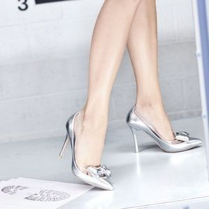 Auth Valentino Dollybow Metallic Silver Leather